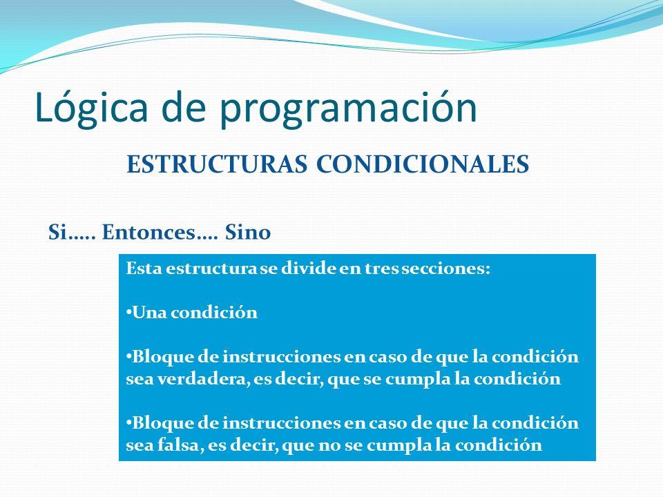 Lógica de programación ESTRUCTURAS CONDICIONALES Si….. Entonces…. Sino Esta estructura se divide en tres secciones: Una condición Bloque de instruccio