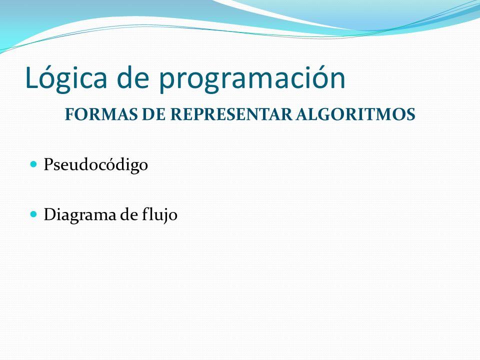 Lógica de programación FORMAS DE REPRESENTAR ALGORITMOS Pseudocódigo Diagrama de flujo