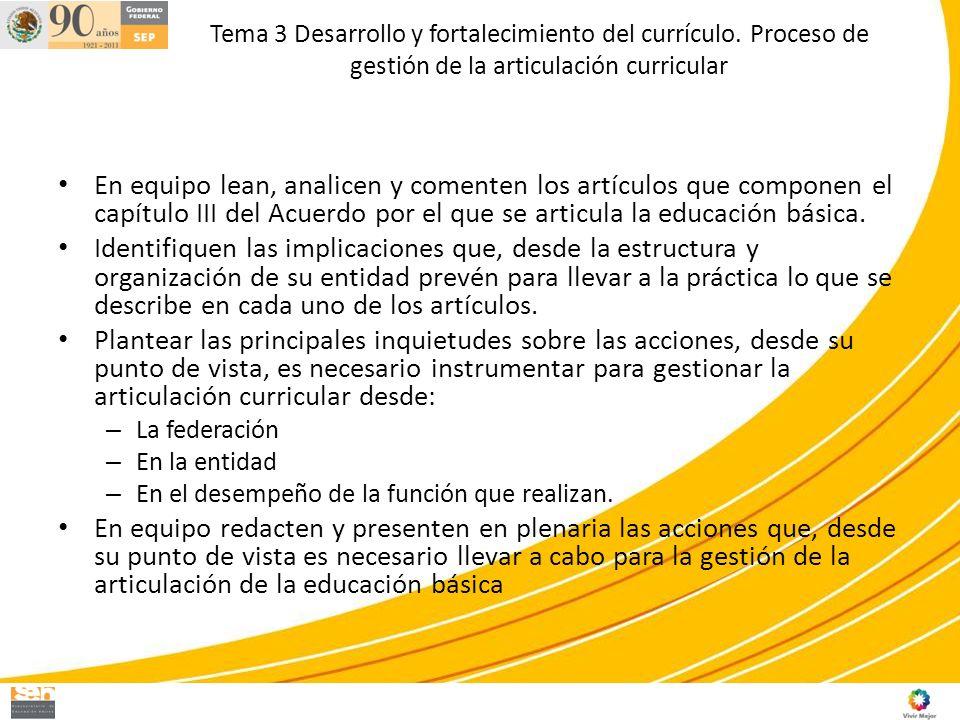 Tema 3 Desarrollo y fortalecimiento del currículo. Proceso de gestión de la articulación curricular En equipo lean, analicen y comenten los artículos