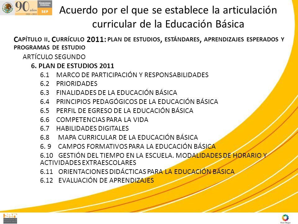 Acuerdo por el que se establece la articulación curricular de la Educación Básica C APÍTULO II. C URRÍCULO 2011: PLAN DE ESTUDIOS, ESTÁNDARES, APRENDI