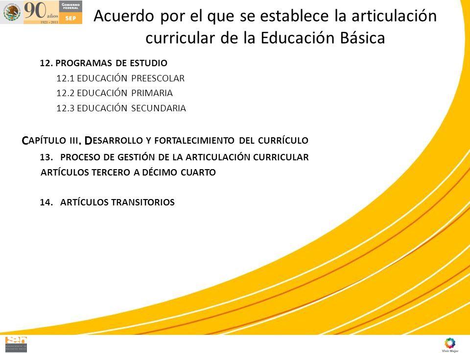 Acuerdo por el que se establece la articulación curricular de la Educación Básica 12. PROGRAMAS DE ESTUDIO 12.1 EDUCACIÓN PREESCOLAR 12.2 EDUCACIÓN PR