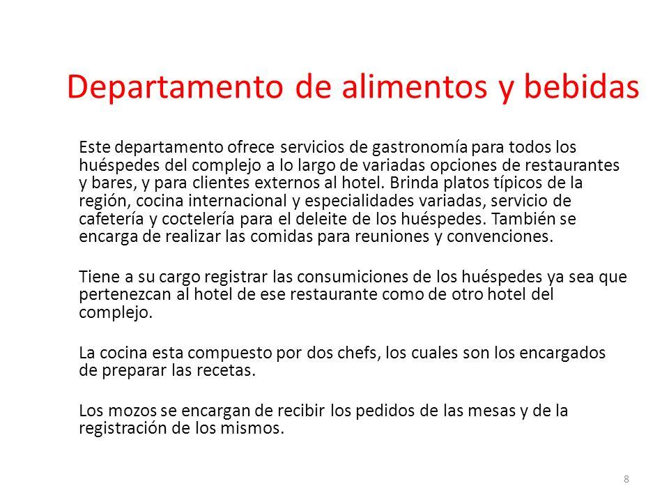 Departamento de alimentos y bebidas Este departamento ofrece servicios de gastronomía para todos los huéspedes del complejo a lo largo de variadas opc