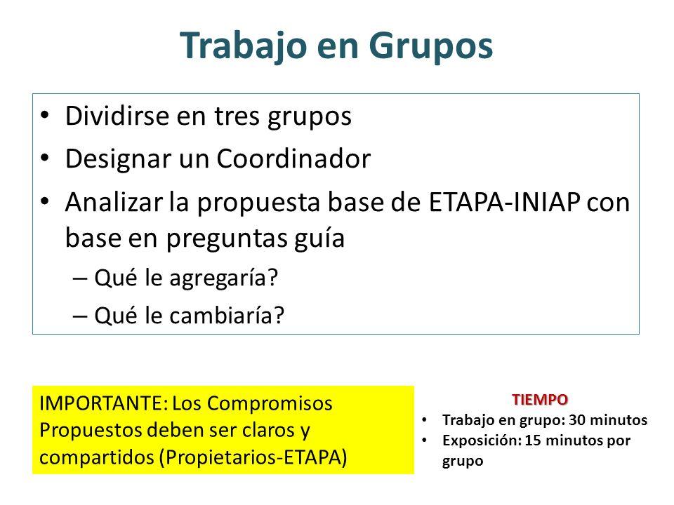 Trabajo en Grupos Dividirse en tres grupos Designar un Coordinador Analizar la propuesta base de ETAPA-INIAP con base en preguntas guía – Qué le agreg