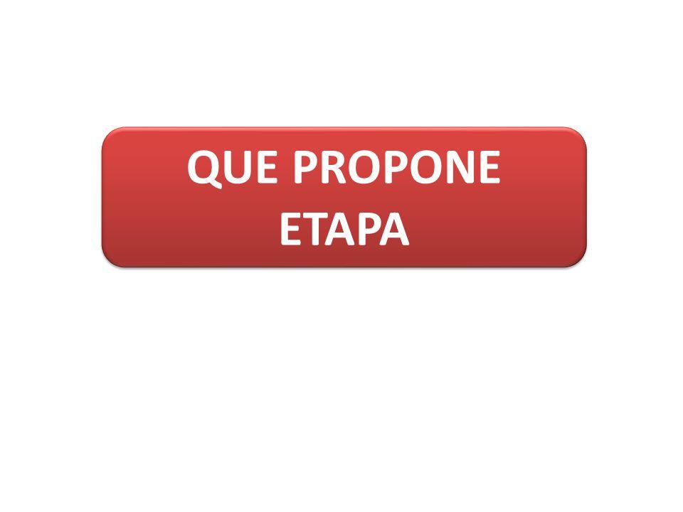 QUE PROPONE ETAPA QUE PROPONE ETAPA