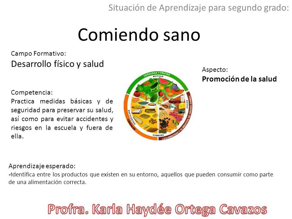 Comiendo sano Situación de Aprendizaje para segundo grado: Campo Formativo: Desarrollo físico y salud Aspecto: Promoción de la salud Aprendizaje esper