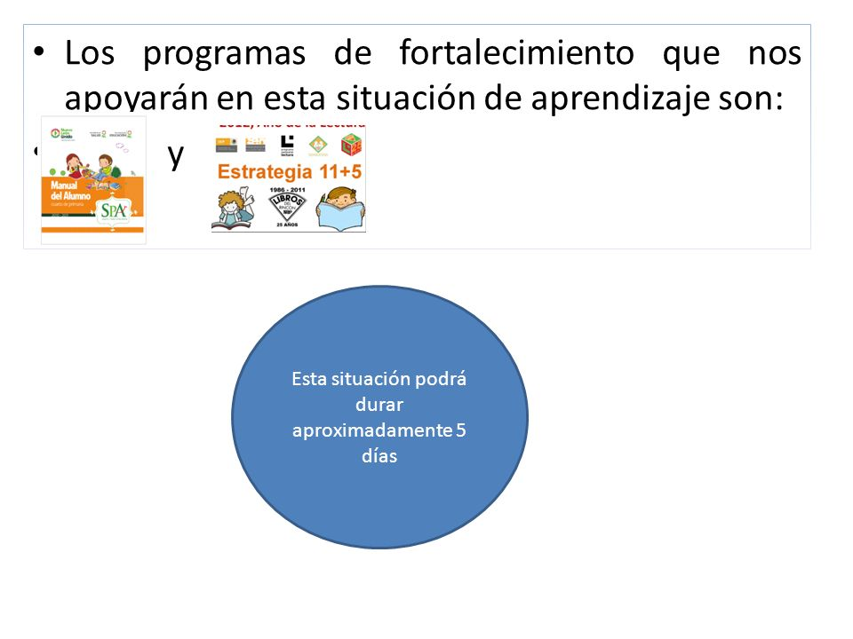 Los programas de fortalecimiento que nos apoyarán en esta situación de aprendizaje son: y Esta situación podrá durar aproximadamente 5 días