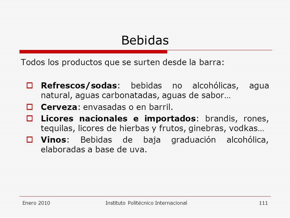 Bebidas Todos los productos que se surten desde la barra: Refrescos/sodas: bebidas no alcohólicas, agua natural, aguas carbonatadas, aguas de sabor… Cerveza: envasadas o en barril.