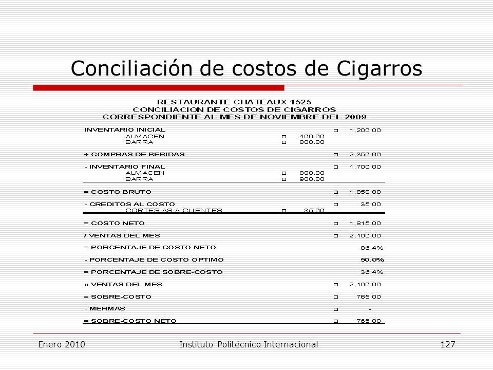 Conciliación de costos de Cigarros Enero 2010Instituto Politécnico Internacional 127