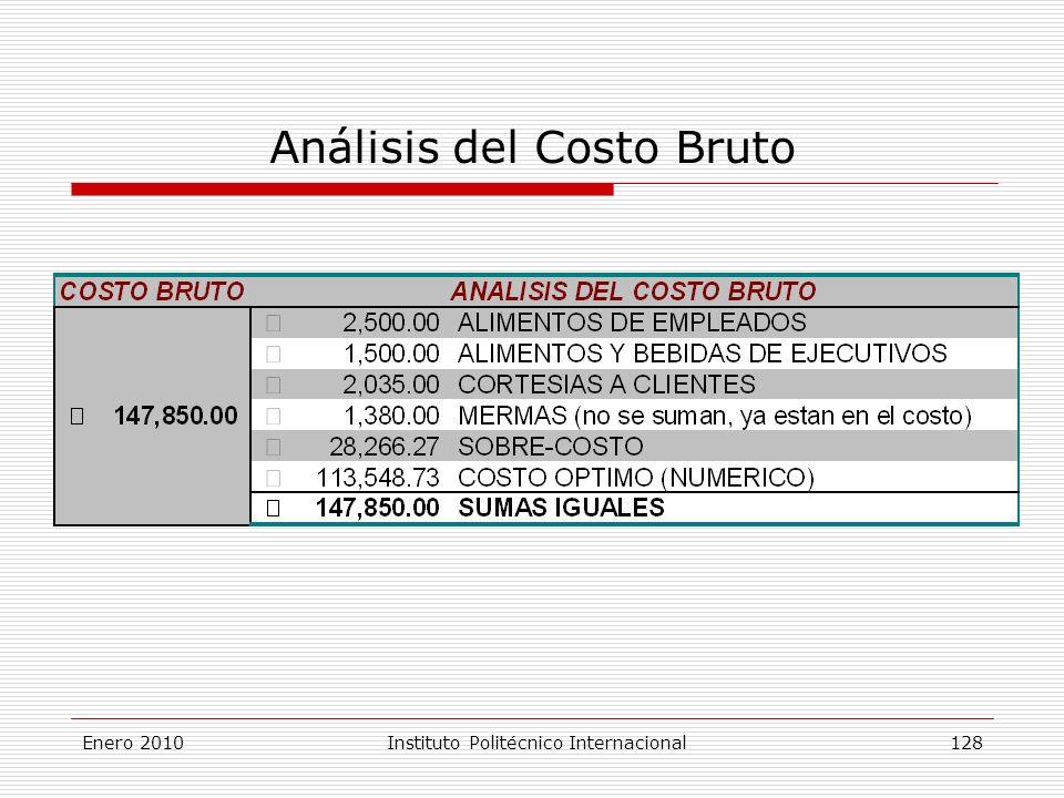 Análisis del Costo Bruto Enero 2010Instituto Politécnico Internacional 128