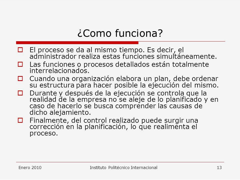 Enero 2010Instituto Politécnico Internacional 13 ¿Como funciona.