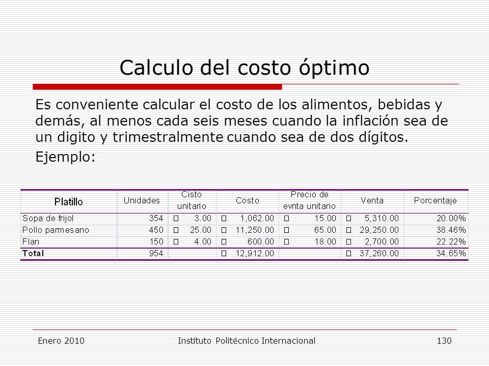 Calculo del costo óptimo Es conveniente calcular el costo de los alimentos, bebidas y demás, al menos cada seis meses cuando la inflación sea de un digito y trimestralmente cuando sea de dos dígitos.