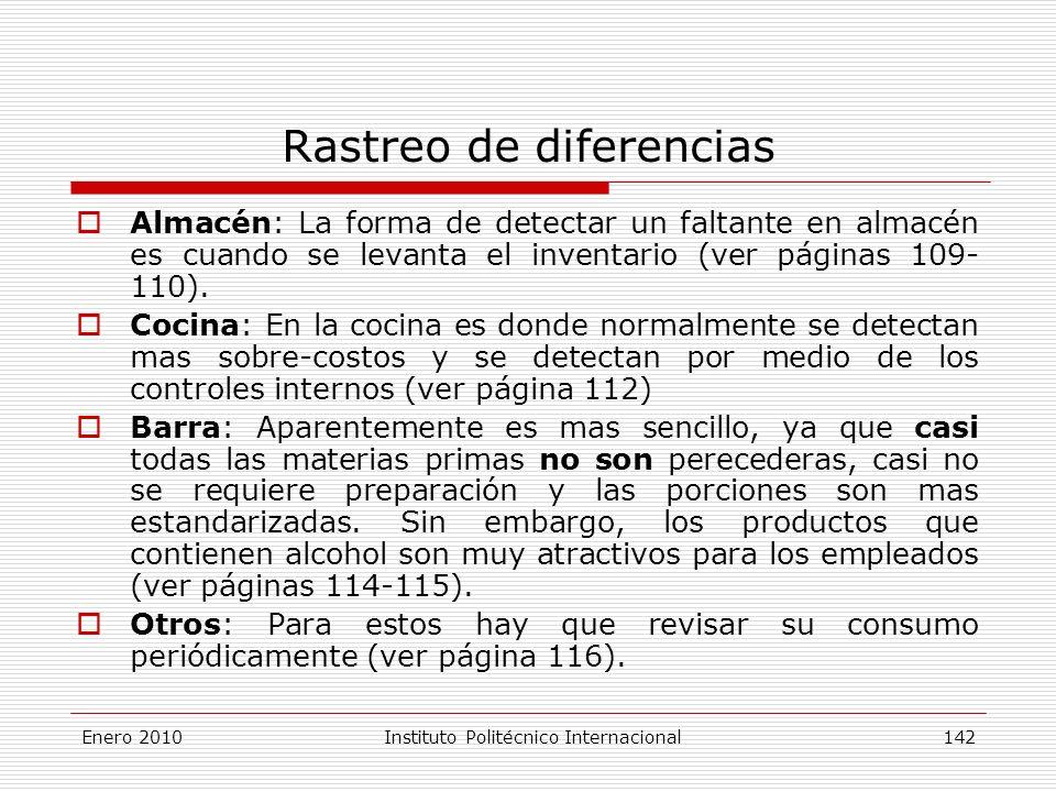 Rastreo de diferencias Almacén: La forma de detectar un faltante en almacén es cuando se levanta el inventario (ver páginas 109- 110).