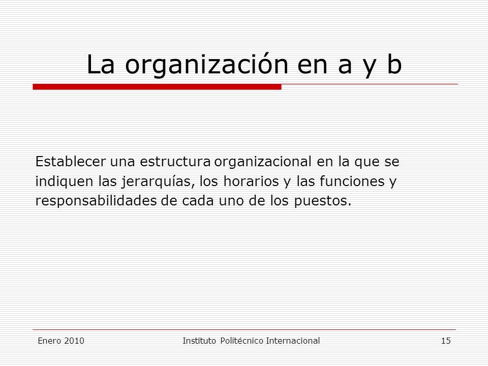 Enero 2010Instituto Politécnico Internacional 15 La organización en a y b Establecer una estructura organizacional en la que se indiquen las jerarquías, los horarios y las funciones y responsabilidades de cada uno de los puestos.