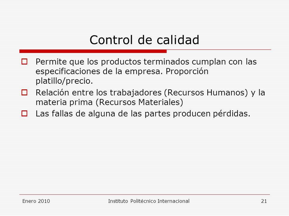 Enero 2010Instituto Politécnico Internacional 21 Control de calidad Permite que los productos terminados cumplan con las especificaciones de la empresa.