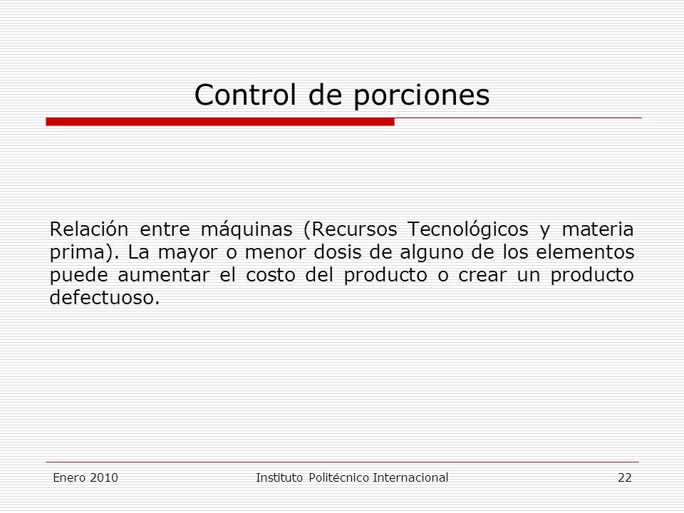Enero 2010Instituto Politécnico Internacional 22 Control de porciones Relación entre máquinas (Recursos Tecnológicos y materia prima).