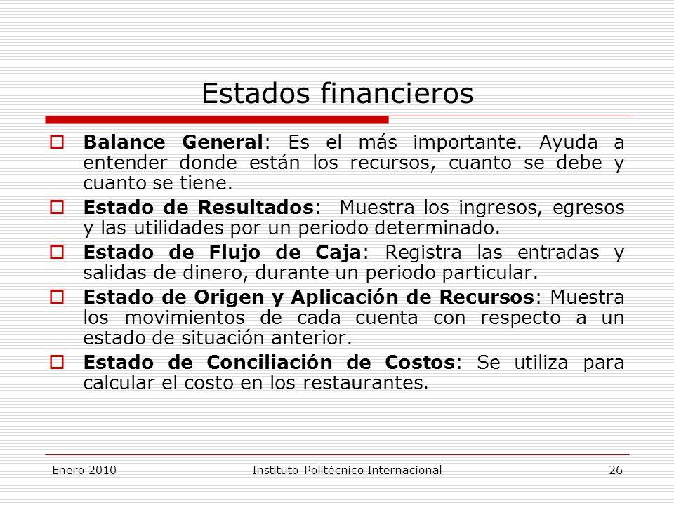 Enero 2010Instituto Politécnico Internacional 26 Estados financieros Balance General: Es el más importante.
