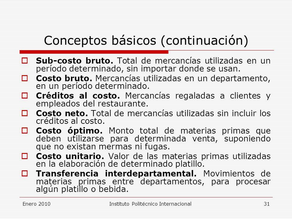 Conceptos básicos (continuación) Sub-costo bruto.