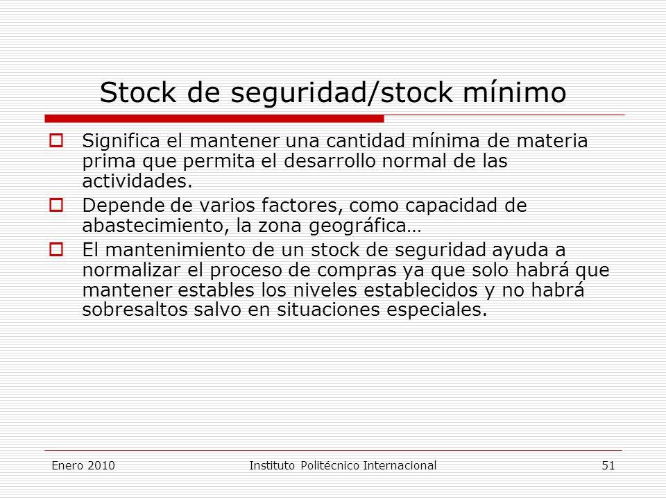 Stock de seguridad/stock mínimo Significa el mantener una cantidad mínima de materia prima que permita el desarrollo normal de las actividades.