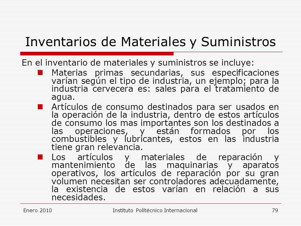 Inventarios de Materiales y Suministros En el inventario de materiales y suministros se incluye: Materias primas secundarias, sus especificaciones varían según el tipo de industria, un ejemplo; para la industria cervecera es: sales para el tratamiento de agua.