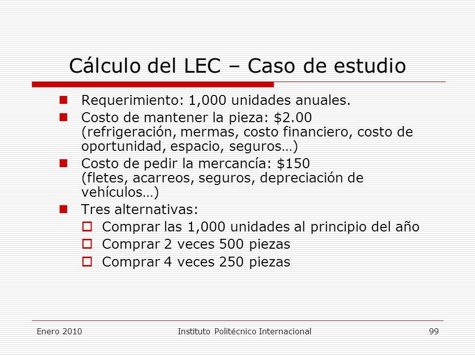 Cálculo del LEC – Caso de estudio Requerimiento: 1,000 unidades anuales.