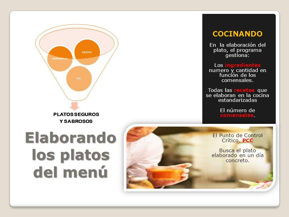 Elaborando los platos del menú COCINANDO En la elaboración del plato, el programa gestiona: Los ingredientes numero y cantidad en función de los comen