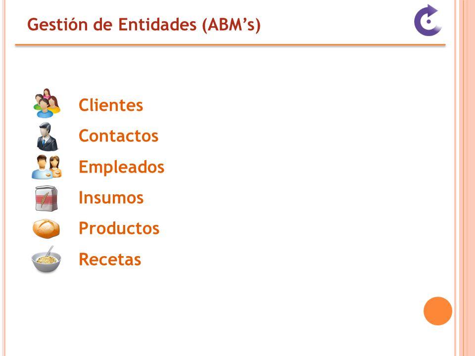 Gestión de Entidades (ABMs) Clientes Contactos Empleados Insumos Productos Recetas