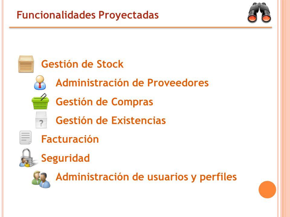 Funcionalidades Proyectadas Gestión de Stock Administración de Proveedores Gestión de Compras Gestión de Existencias Facturación Seguridad Administración de usuarios y perfiles