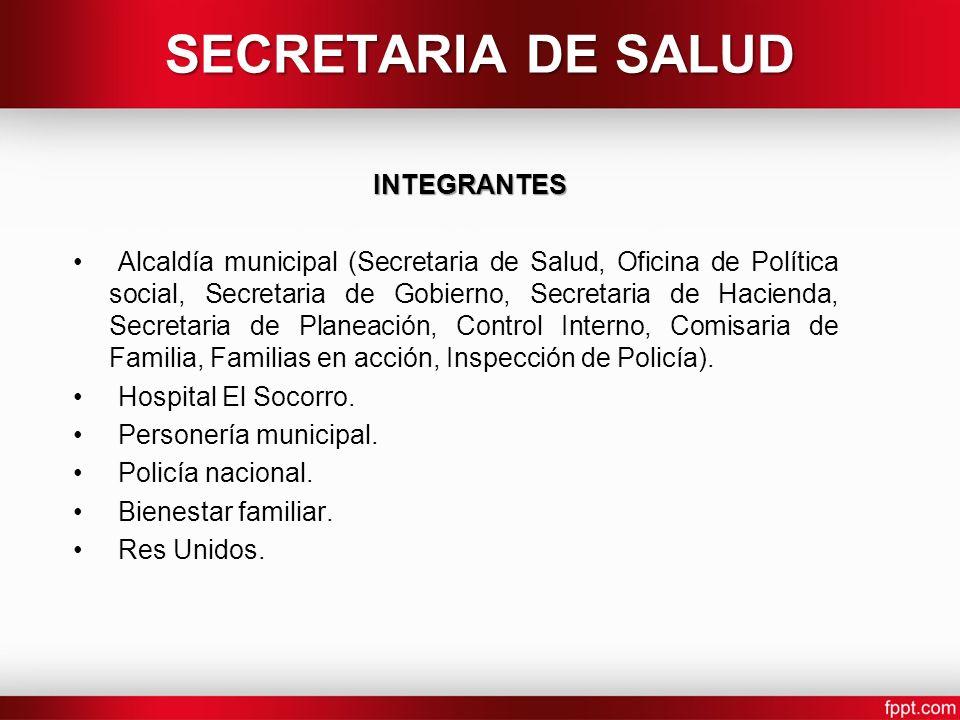 SECRETARIA DE SALUD INTEGRANTES Alcaldía municipal (Secretaria de Salud, Oficina de Política social, Secretaria de Gobierno, Secretaria de Hacienda, S