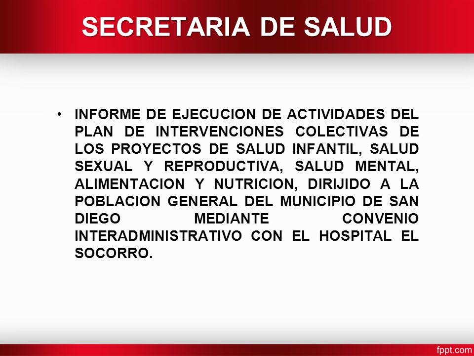 SECRETARIA DE SALUD INFORME DE EJECUCION DE ACTIVIDADES DEL PLAN DE INTERVENCIONES COLECTIVAS DE LOS PROYECTOS DE SALUD INFANTIL, SALUD SEXUAL Y REPRODUCTIVA, SALUD MENTAL, ALIMENTACION Y NUTRICION, DIRIJIDO A LA POBLACION GENERAL DEL MUNICIPIO DE SAN DIEGO MEDIANTE CONVENIO INTERADMINISTRATIVO CON EL HOSPITAL EL SOCORRO.