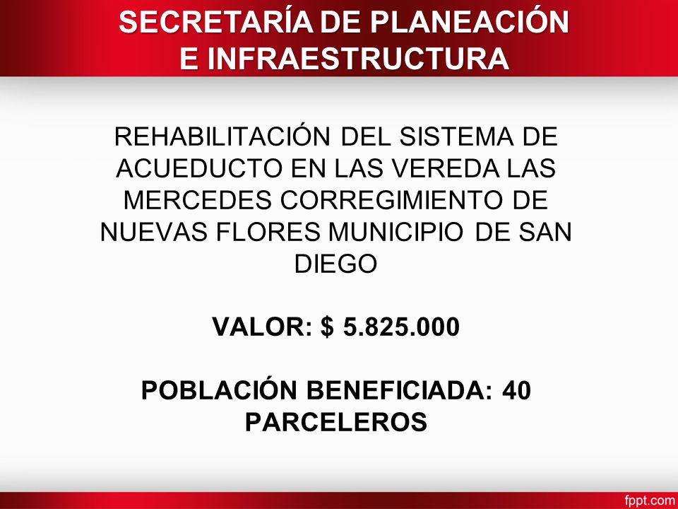 REHABILITACIÓN DEL SISTEMA DE ACUEDUCTO EN LAS VEREDA LAS MERCEDES CORREGIMIENTO DE NUEVAS FLORES MUNICIPIO DE SAN DIEGO VALOR: $ 5.825.000 POBLACIÓN