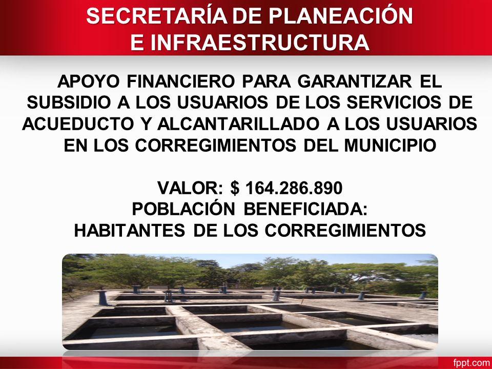 APOYO FINANCIERO PARA GARANTIZAR EL SUBSIDIO A LOS USUARIOS DE LOS SERVICIOS DE ACUEDUCTO Y ALCANTARILLADO A LOS USUARIOS EN LOS CORREGIMIENTOS DEL MUNICIPIO VALOR: $ 164.286.890 POBLACIÓN BENEFICIADA: HABITANTES DE LOS CORREGIMIENTOS SECRETARÍA DE PLANEACIÓN E INFRAESTRUCTURA