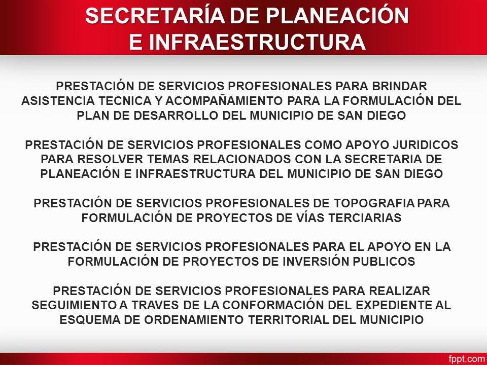 PRESTACIÓN DE SERVICIOS PROFESIONALES PARA BRINDAR ASISTENCIA TECNICA Y ACOMPAÑAMIENTO PARA LA FORMULACIÓN DEL PLAN DE DESARROLLO DEL MUNICIPIO DE SAN DIEGO PRESTACIÓN DE SERVICIOS PROFESIONALES COMO APOYO JURIDICOS PARA RESOLVER TEMAS RELACIONADOS CON LA SECRETARIA DE PLANEACIÓN E INFRAESTRUCTURA DEL MUNICIPIO DE SAN DIEGO PRESTACIÓN DE SERVICIOS PROFESIONALES DE TOPOGRAFIA PARA FORMULACIÓN DE PROYECTOS DE VÍAS TERCIARIAS PRESTACIÓN DE SERVICIOS PROFESIONALES PARA EL APOYO EN LA FORMULACIÓN DE PROYECTOS DE INVERSIÓN PUBLICOS PRESTACIÓN DE SERVICIOS PROFESIONALES PARA REALIZAR SEGUIMIENTO A TRAVES DE LA CONFORMACIÓN DEL EXPEDIENTE AL ESQUEMA DE ORDENAMIENTO TERRITORIAL DEL MUNICIPIO SECRETARÍA DE PLANEACIÓN E INFRAESTRUCTURA