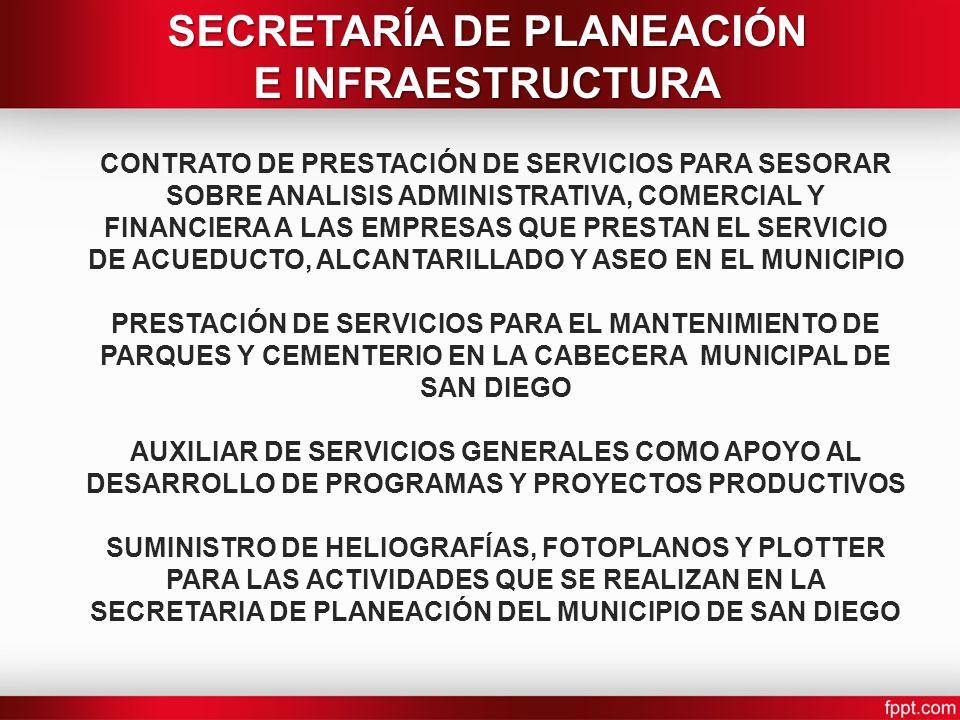 CONTRATO DE PRESTACIÓN DE SERVICIOS PARA SESORAR SOBRE ANALISIS ADMINISTRATIVA, COMERCIAL Y FINANCIERA A LAS EMPRESAS QUE PRESTAN EL SERVICIO DE ACUEDUCTO, ALCANTARILLADO Y ASEO EN EL MUNICIPIO PRESTACIÓN DE SERVICIOS PARA EL MANTENIMIENTO DE PARQUES Y CEMENTERIO EN LA CABECERA MUNICIPAL DE SAN DIEGO AUXILIAR DE SERVICIOS GENERALES COMO APOYO AL DESARROLLO DE PROGRAMAS Y PROYECTOS PRODUCTIVOS SUMINISTRO DE HELIOGRAFÍAS, FOTOPLANOS Y PLOTTER PARA LAS ACTIVIDADES QUE SE REALIZAN EN LA SECRETARIA DE PLANEACIÓN DEL MUNICIPIO DE SAN DIEGO SECRETARÍA DE PLANEACIÓN E INFRAESTRUCTURA