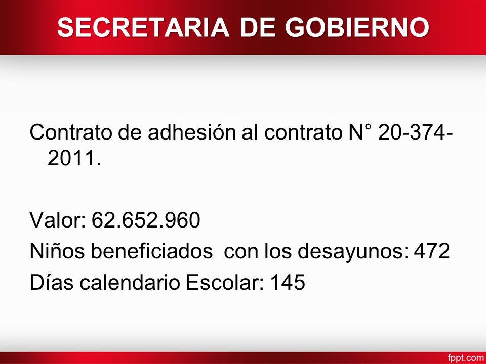 SECRETARIA DE GOBIERNO Contrato de adhesión al contrato N° 20-374- 2011. Valor: 62.652.960 Niños beneficiados con los desayunos: 472 Días calendario E