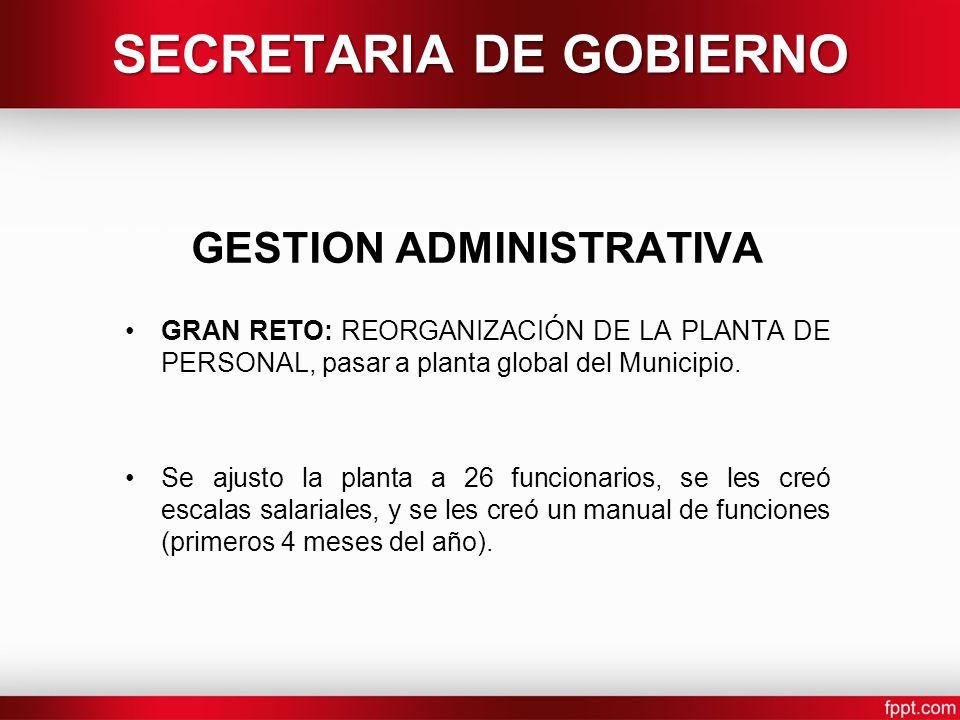 SECRETARIA DE GOBIERNO GESTION ADMINISTRATIVA GRAN RETO: REORGANIZACIÓN DE LA PLANTA DE PERSONAL, pasar a planta global del Municipio.