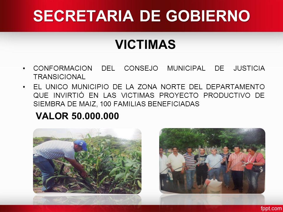 VICTIMAS CONFORMACION DEL CONSEJO MUNICIPAL DE JUSTICIA TRANSICIONAL EL UNICO MUNICIPIO DE LA ZONA NORTE DEL DEPARTAMENTO QUE INVIRTIÓ EN LAS VICTIMAS PROYECTO PRODUCTIVO DE SIEMBRA DE MAIZ, 100 FAMILIAS BENEFICIADAS VALOR 50.000.000