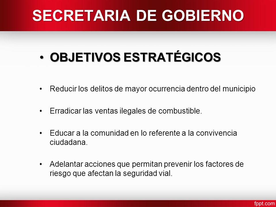 SECRETARIA DE GOBIERNO OBJETIVOS ESTRATÉGICOSOBJETIVOS ESTRATÉGICOS Reducir los delitos de mayor ocurrencia dentro del municipio Erradicar las ventas