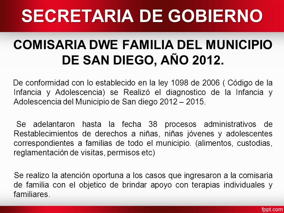 SECRETARIA DE GOBIERNO COMISARIA DWE FAMILIA DEL MUNICIPIO DE SAN DIEGO, AÑO 2012. De conformidad con lo establecido en la ley 1098 de 2006 ( Código d