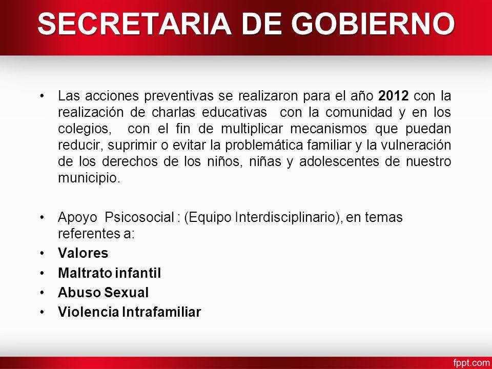 SECRETARIA DE GOBIERNO Las acciones preventivas se realizaron para el año 2012 con la realización de charlas educativas con la comunidad y en los cole