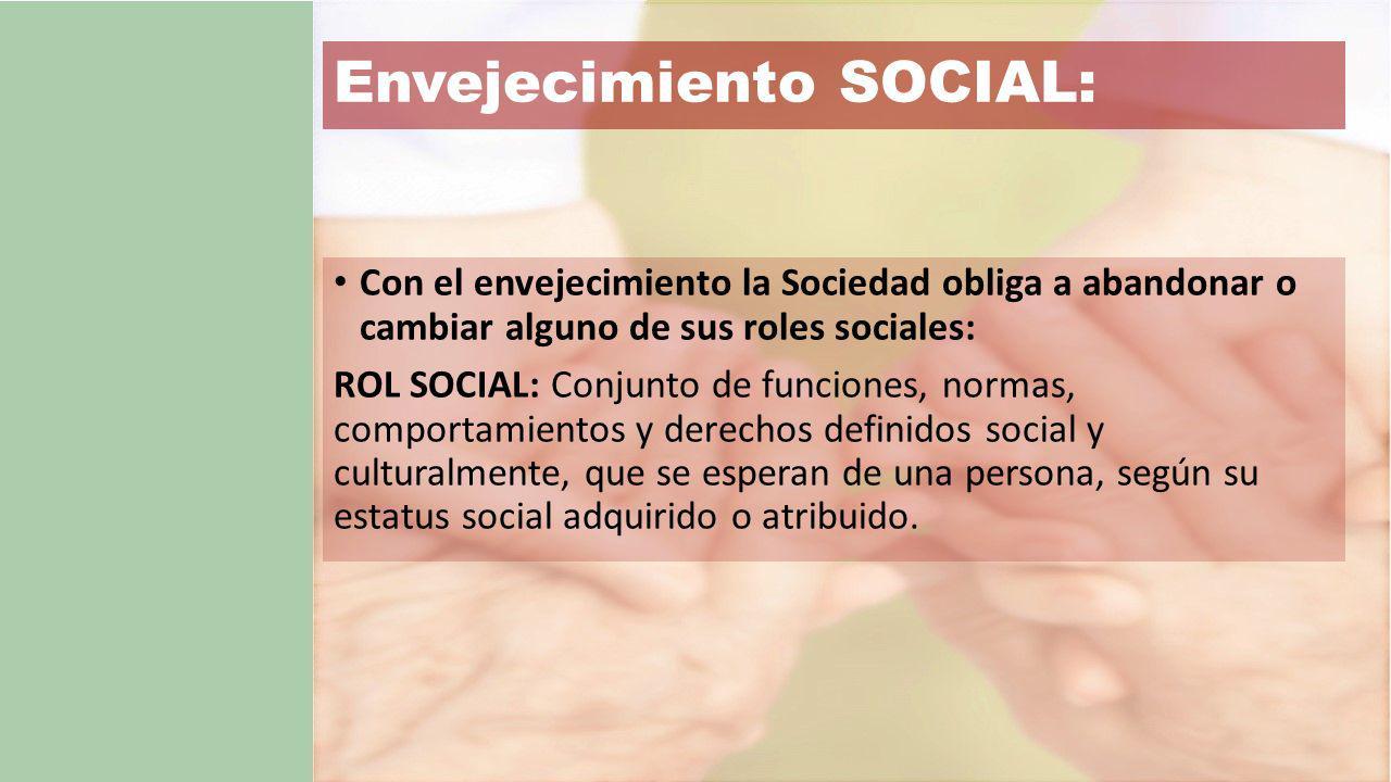Envejecimiento SOCIAL: Con el envejecimiento la Sociedad obliga a abandonar o cambiar alguno de sus roles sociales: ROL SOCIAL: Conjunto de funciones, normas, comportamientos y derechos definidos social y culturalmente, que se esperan de una persona, según su estatus social adquirido o atribuido.