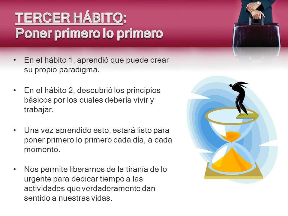 En el hábito 1, aprendió que puede crear su propio paradigma. En el hábito 2, descubrió los principios básicos por los cuales debería vivir y trabajar