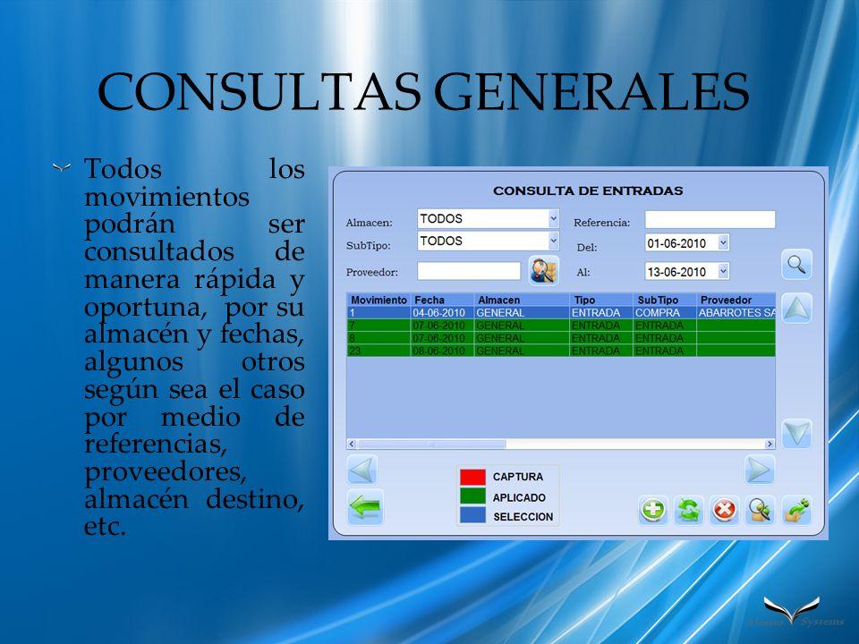 CONSULTAS GENERALES Todos los movimientos podrán ser consultados de manera rápida y oportuna, por su almacén y fechas, algunos otros según sea el caso