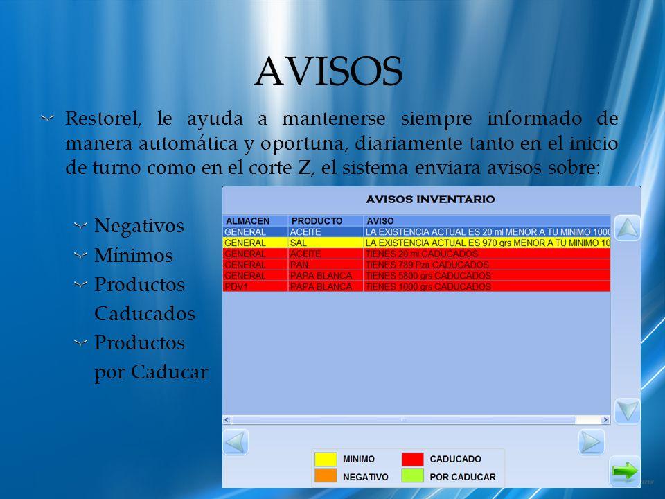 AVISOS Restorel, le ayuda a mantenerse siempre informado de manera automática y oportuna, diariamente tanto en el inicio de turno como en el corte Z,