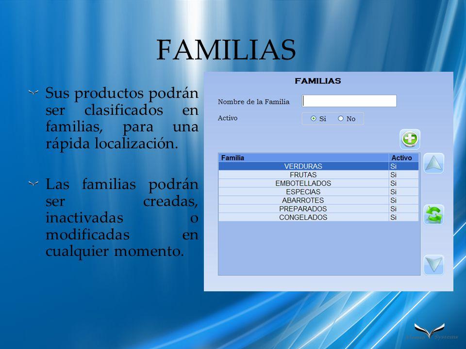 FAMILIAS Sus productos podrán ser clasificados en familias, para una rápida localización. Las familias podrán ser creadas, inactivadas o modificadas e