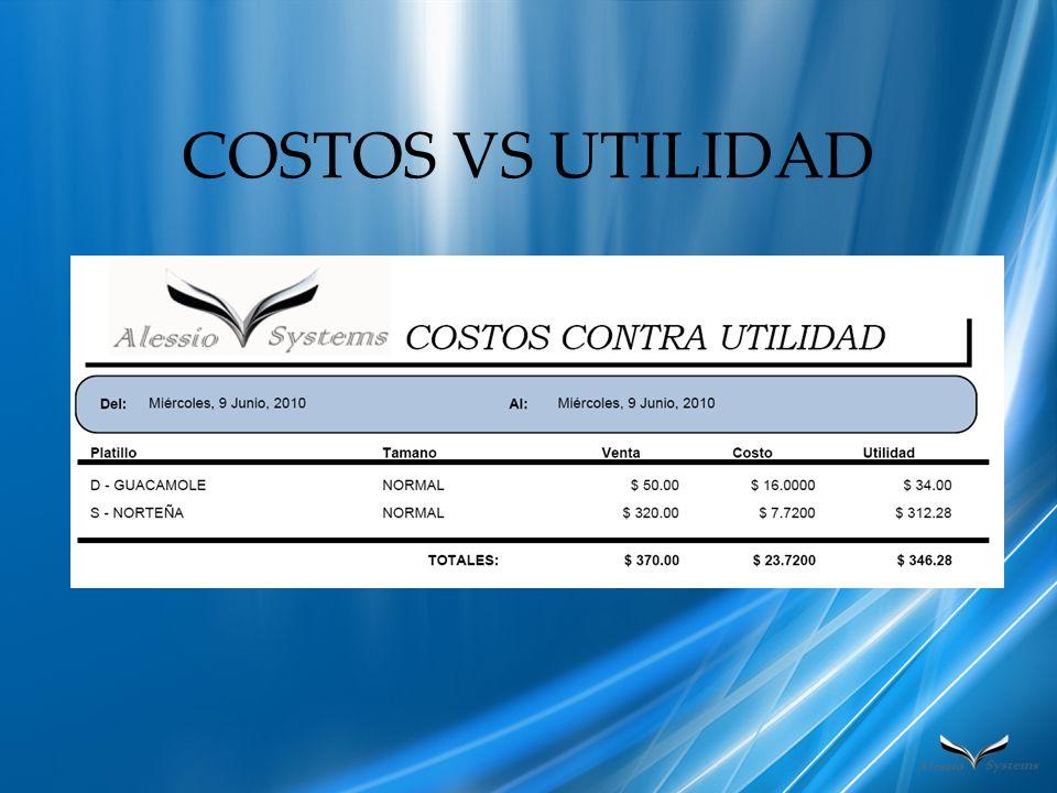 COSTOS VS UTILIDAD
