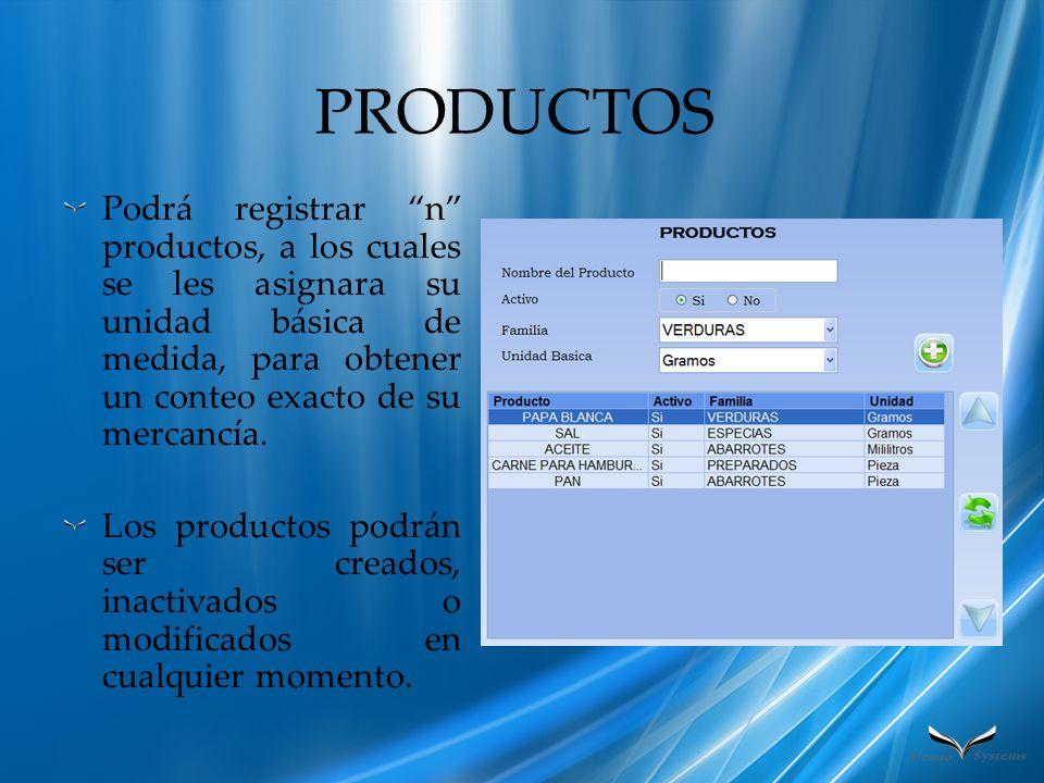 PRODUCTOS Podrá registrar n productos, a los cuales se les asignara su unidad básica de medida, para obtener un conteo exacto de su mercancía. Los pro