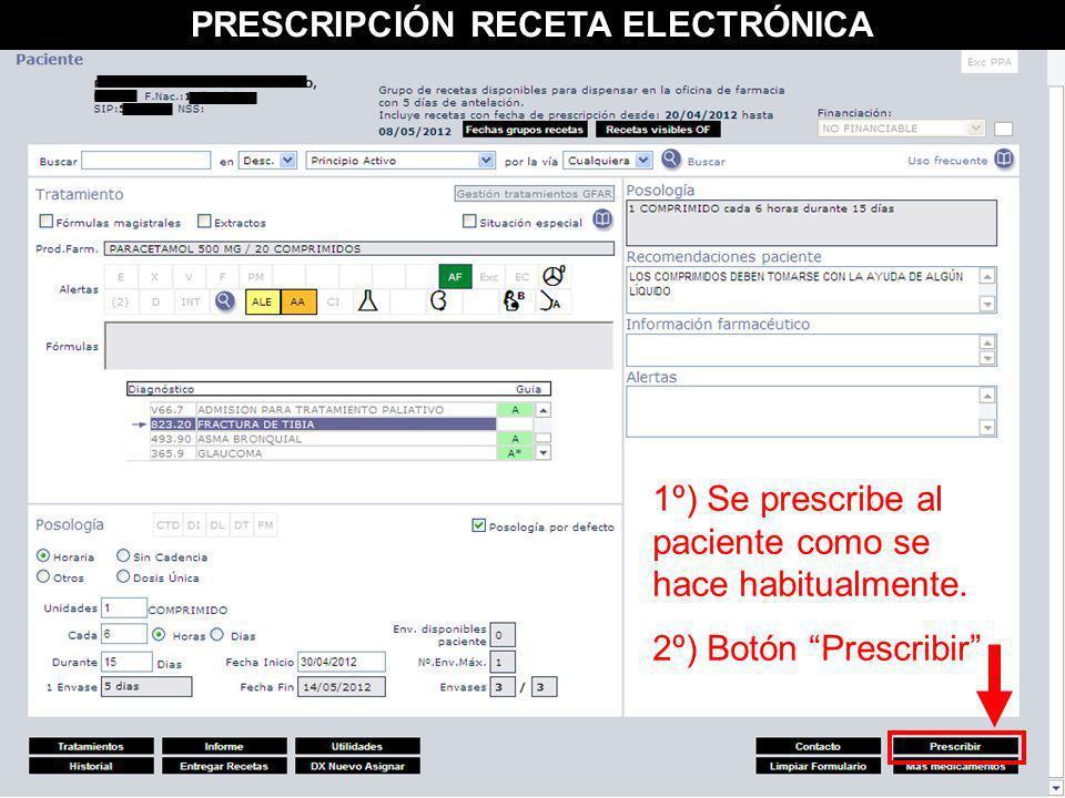 1º) Se prescribe al paciente como se hace habitualmente. 2º) Botón Prescribir PRESCRIPCIÓN RECETA ELECTRÓNICA