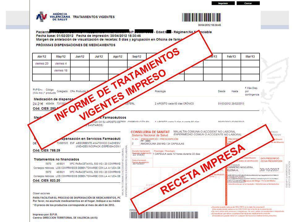 RECETA IMPRESA INFORME DE TRATAMIENTOS VIGENTES IMPRESO