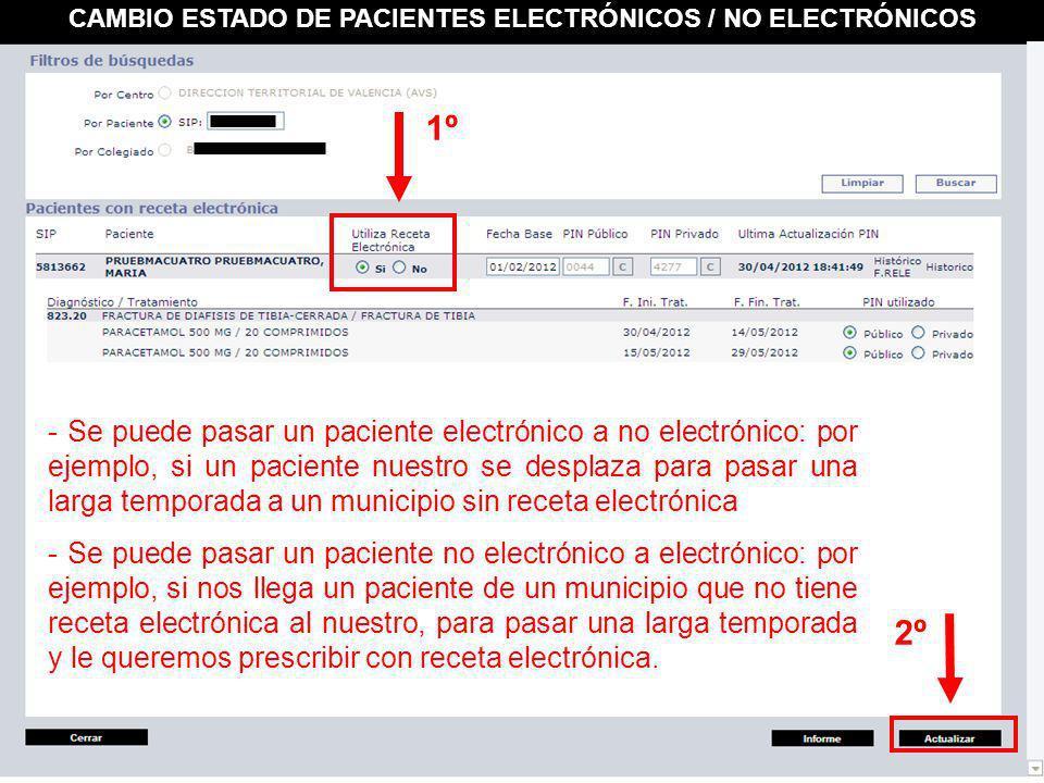 CAMBIO ESTADO DE PACIENTES ELECTRÓNICOS / NO ELECTRÓNICOS 1º 2º - Se puede pasar un paciente electrónico a no electrónico: por ejemplo, si un paciente