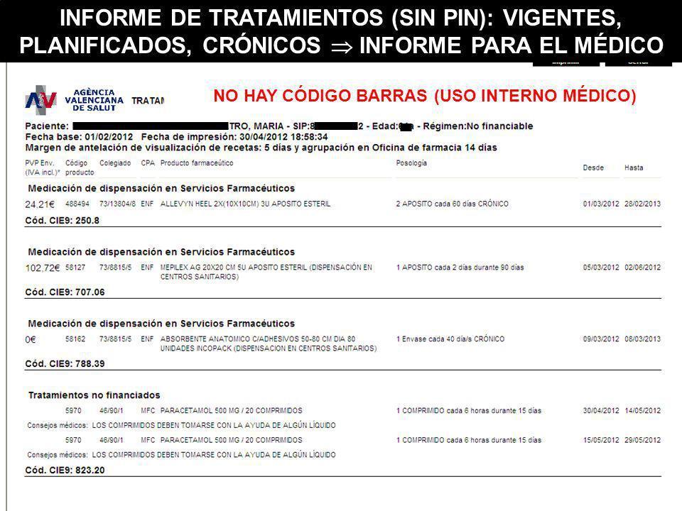 NO HAY CÓDIGO BARRAS (USO INTERNO MÉDICO) INFORME DE TRATAMIENTOS (SIN PIN): VIGENTES, PLANIFICADOS, CRÓNICOS INFORME PARA EL MÉDICO